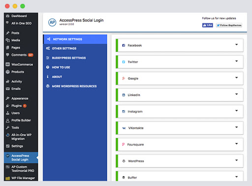 AccessPress Social Login New and Backend UI Layout