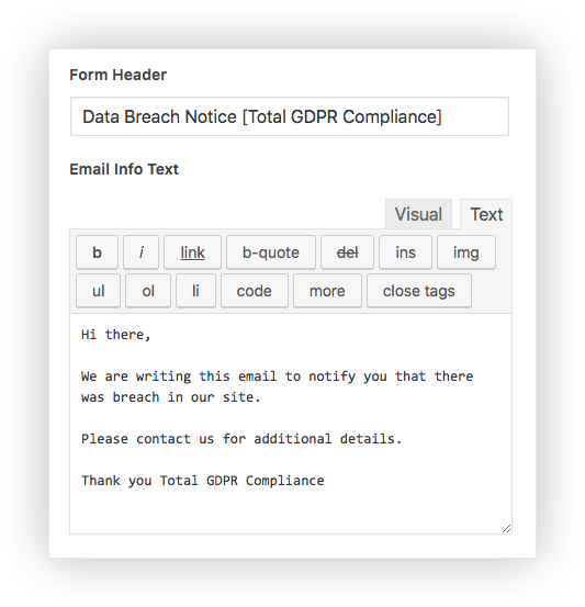 Total GDPR Compliance Lite GDPR Breach Notice