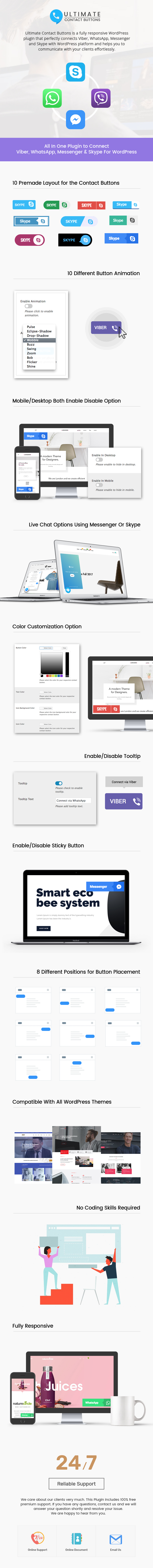 Connect To Viber, WhatsApp, Messenger & Skype Via WordPress – Ultimate Contact Buttons