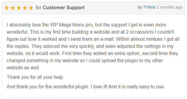 WP Mega Menu Pro - Customer Reviews